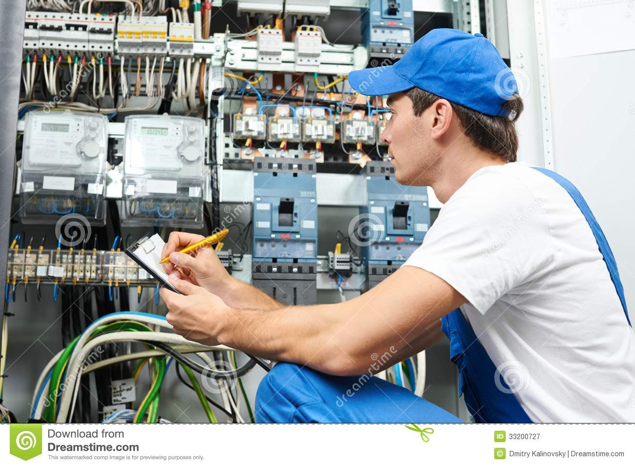 Electrician Worker Inspecting Young Adult Builder Engineer Electric Fuse Box Counter Equipment Distribution 33200727